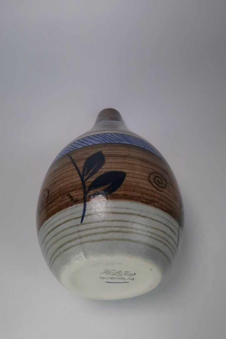 Nordic Vintage Rörstrand Hand Painted Stoneware Vase, 1960s For Sale 1