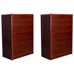 Nordisk Andels-Eksport Danish Rosewood Highboy Dresser Chest of Drawers