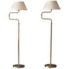 Nordiska Kompaniet, Adjustable Floor Lamps, Brass, White Fabric, Sweden, 1940s
