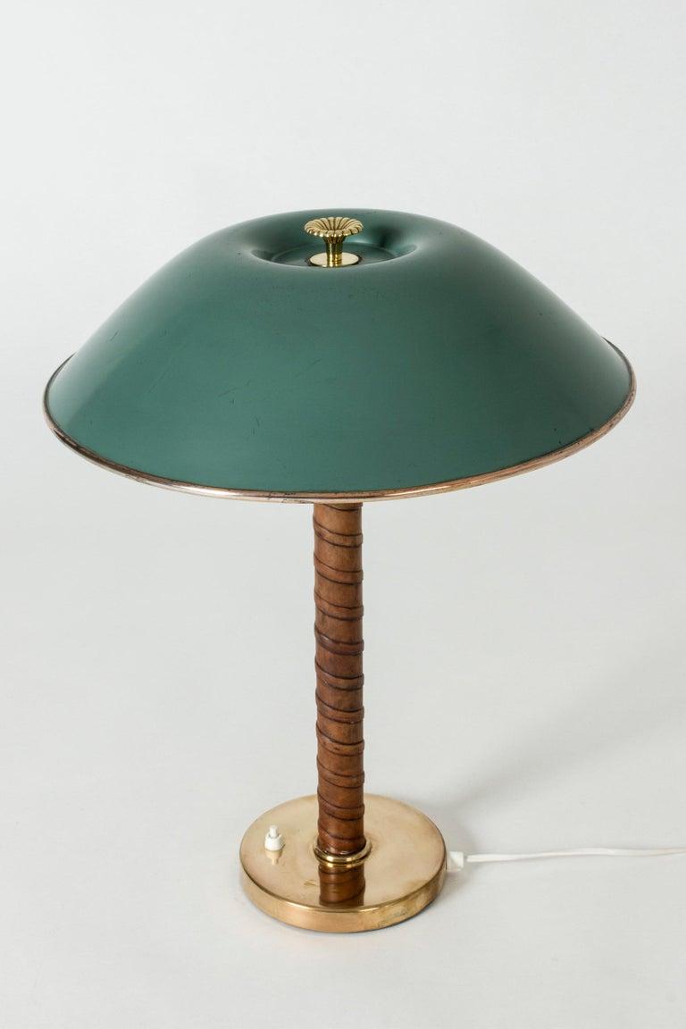 Scandinavian Modern Nordiska Kompaniet Brass Table Lamp with Green Lacquered Shade For Sale