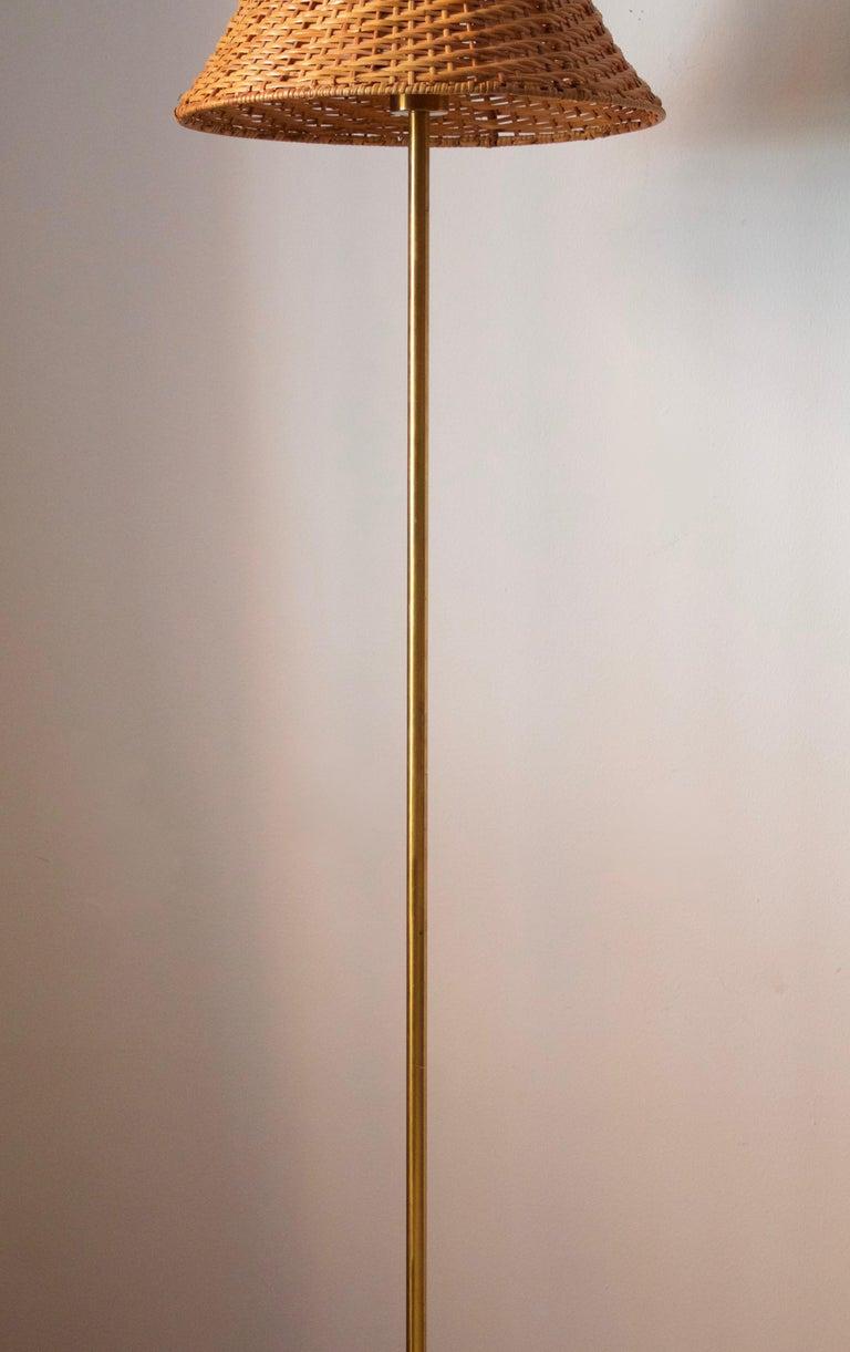 Swedish Nordiska Kompaniet, Floor Lamp, Brass, Rattan, Sweden, 1940s For Sale