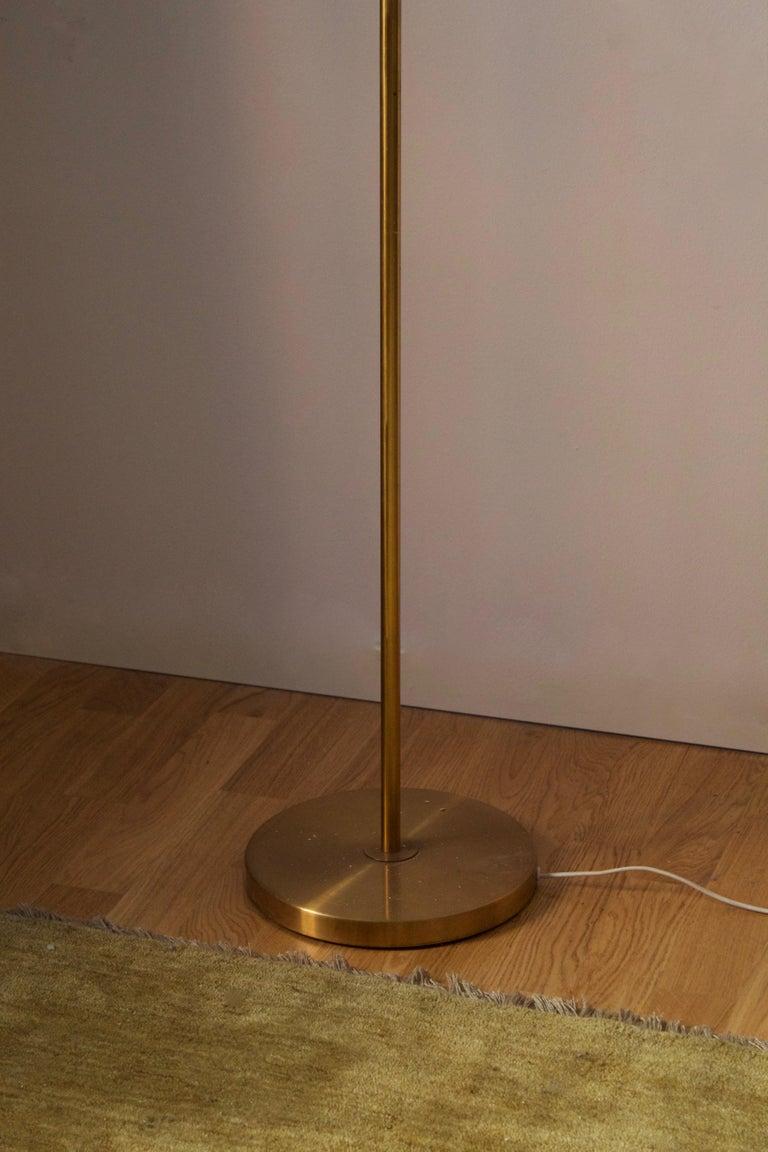 Nordiska Kompaniet, Floor Lamp, Brass, Rattan, Sweden, 1940s In Good Condition For Sale In West Palm Beach, FL