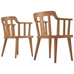 Nordiska Kompaniet Pair of 'Ekerö' Armchairs in Solid Pine