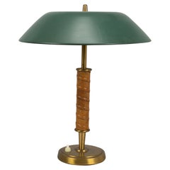 Nordiska Kompaniet, Table Lamp Brass, Leather, Green Lacquered Steel circa 1940
