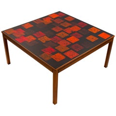 Nordiska Kompaniet Teak Coffee Table with Enamel Top by Poul Torneman