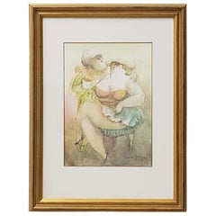 "Norha Beltran 'Bolivia' ""Two Women"" Original Watercolor, circa 1980s"