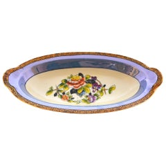 Noritake Oblong Hand Painted Bowl with Floral Center Design