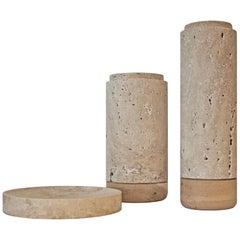 Norm Beige, Travertine, Vase, Plate, Decoration, Centerpiece