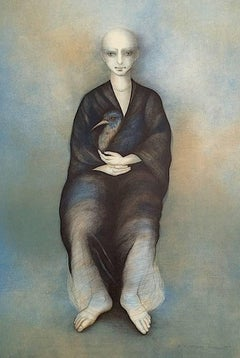 Selvaggia, Signed Original Lithograph, Latin American Artist, Magical Portrait