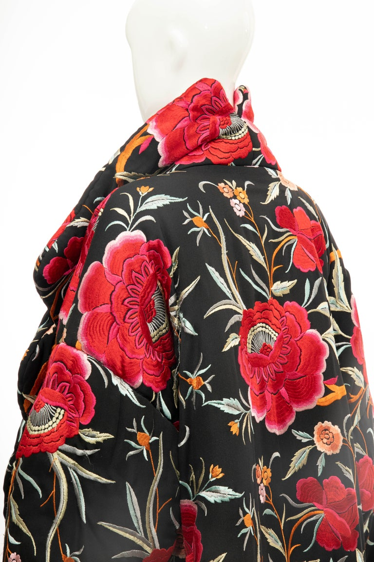Norma Kamali Black Floral Embroidered Cocoon Coat, Circa: 1980's For Sale 6