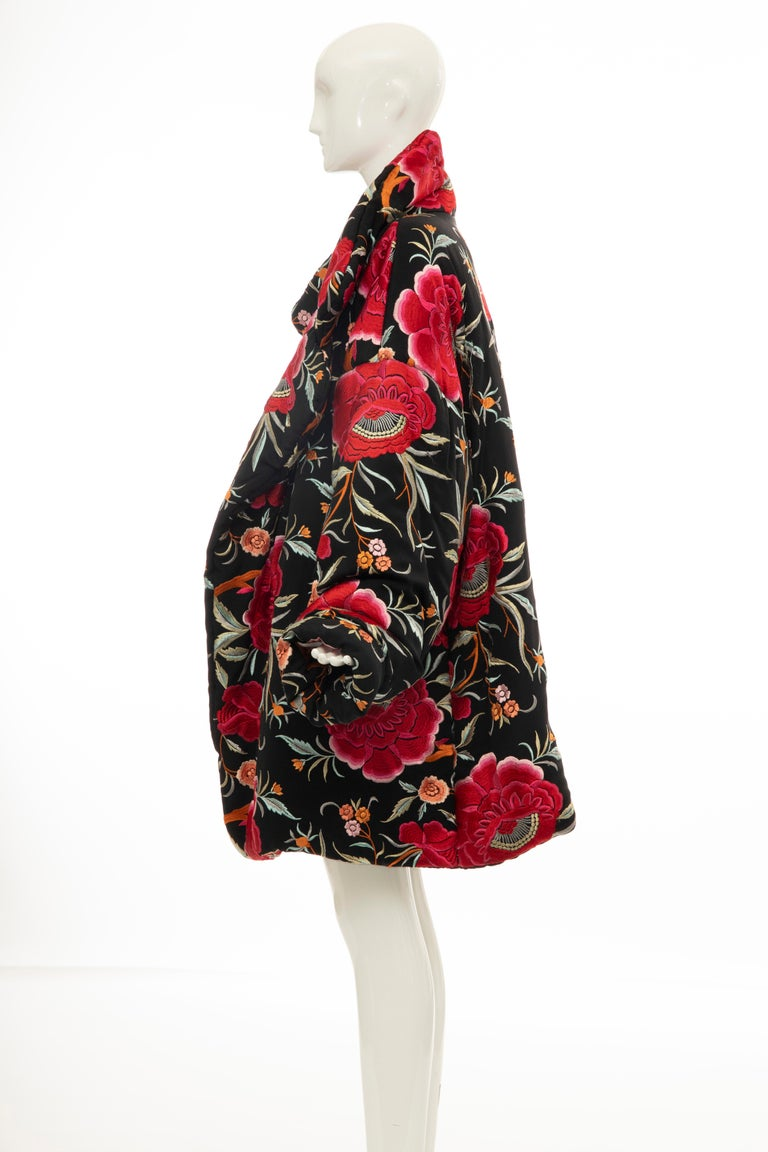 Norma Kamali Black Floral Embroidered Cocoon Coat, Circa: 1980's For Sale 7