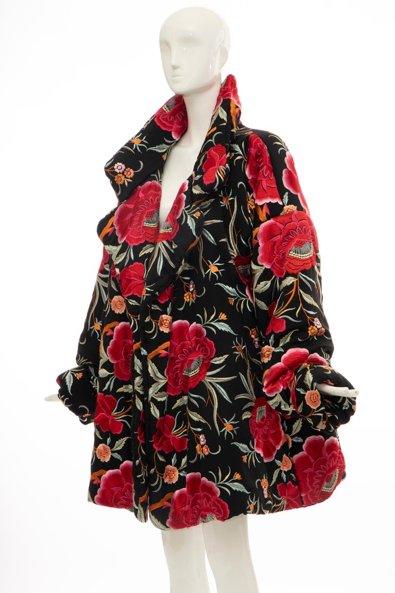 Norma Kamali Black Floral Embroidered Cocoon Coat, Circa: 1980's For Sale 9