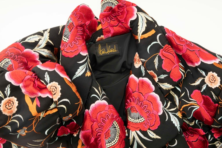 Norma Kamali Black Floral Embroidered Cocoon Coat, Circa: 1980's For Sale 10