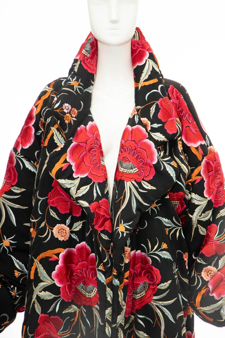 Norma Kamali, Circa: 1980's black floral embroidered cocoon coat with notched lapel, two pockets at side seams, open front and fully lined,   Size not listed, estimated from measurements.  Size: Large  Bust: 48, Waist: 44, Shoulder: 20, Length: 35,