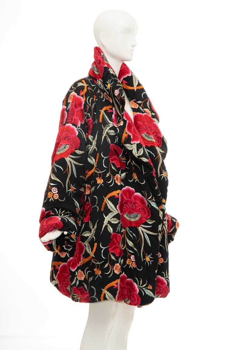 Women's Norma Kamali Black Floral Embroidered Cocoon Coat, Circa: 1980's For Sale