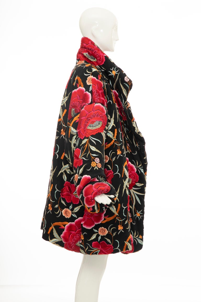 Norma Kamali Black Floral Embroidered Cocoon Coat, Circa: 1980's For Sale 1