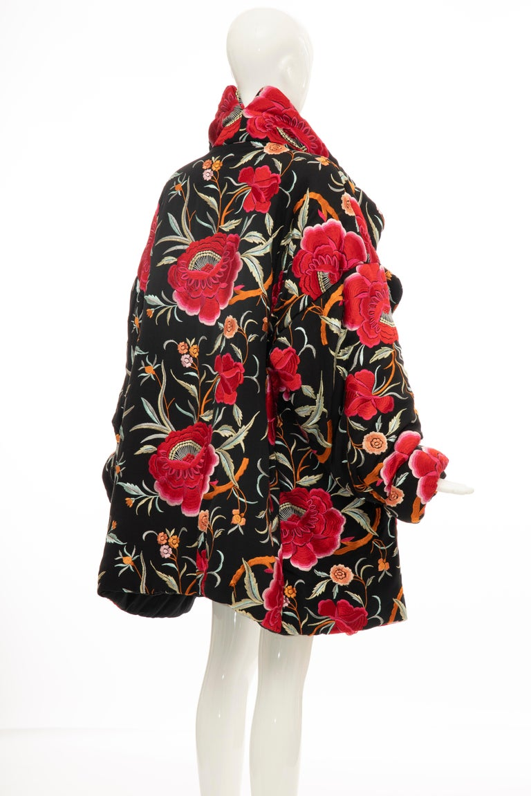 Norma Kamali Black Floral Embroidered Cocoon Coat, Circa: 1980's For Sale 2