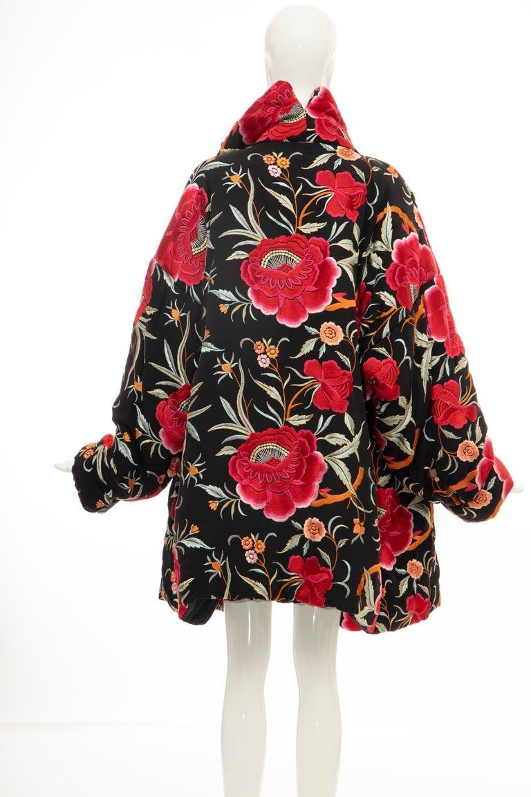 Norma Kamali Black Floral Embroidered Cocoon Coat, Circa: 1980's For Sale 3