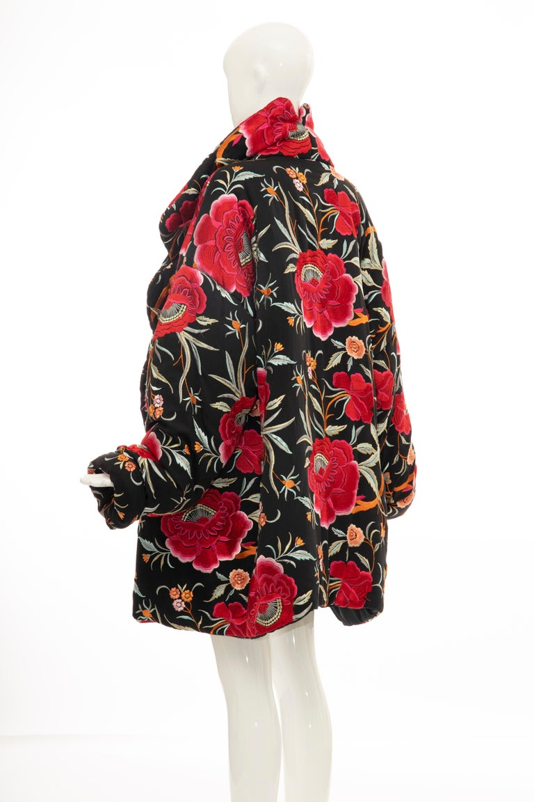 Norma Kamali Black Floral Embroidered Cocoon Coat, Circa: 1980's For Sale 4