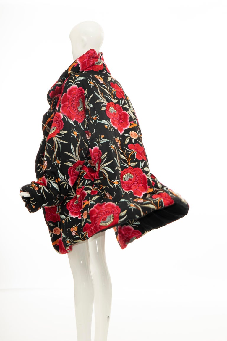 Norma Kamali Black Floral Embroidered Cocoon Coat, Circa: 1980's For Sale 5