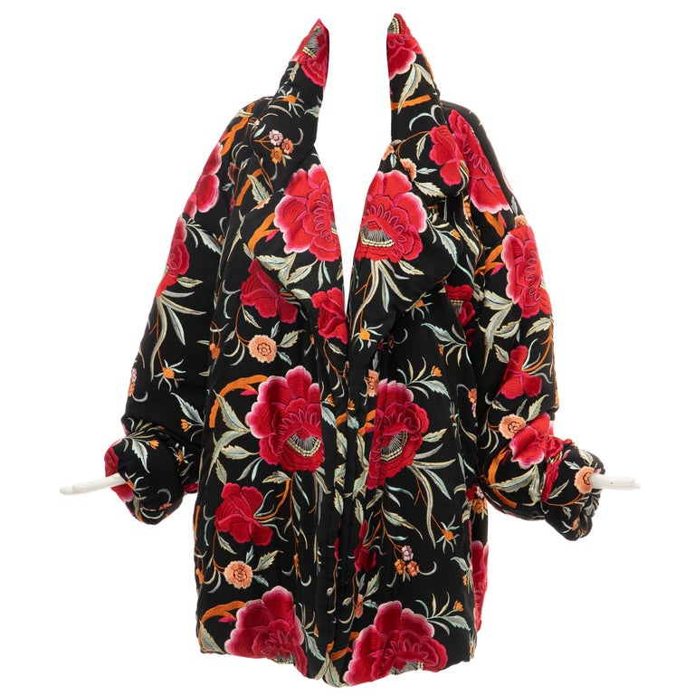 Norma Kamali Black Floral Embroidered Cocoon Coat, Circa: 1980's For Sale