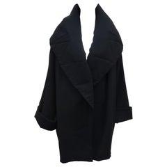 Norma Kamali Black Silk Crepe Cocoon Coat, 1980's