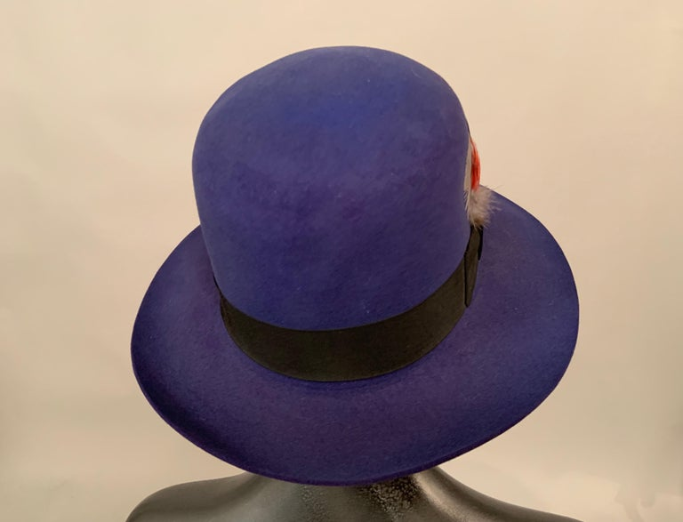 Norma Kamali for Stetson Blue Wool Felt Fedora Hat In Excellent Condition For Sale In New Hope, PA