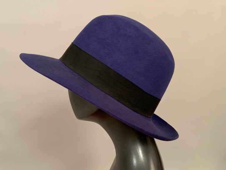 Women's or Men's Norma Kamali for Stetson Blue Wool Felt Fedora Hat For Sale