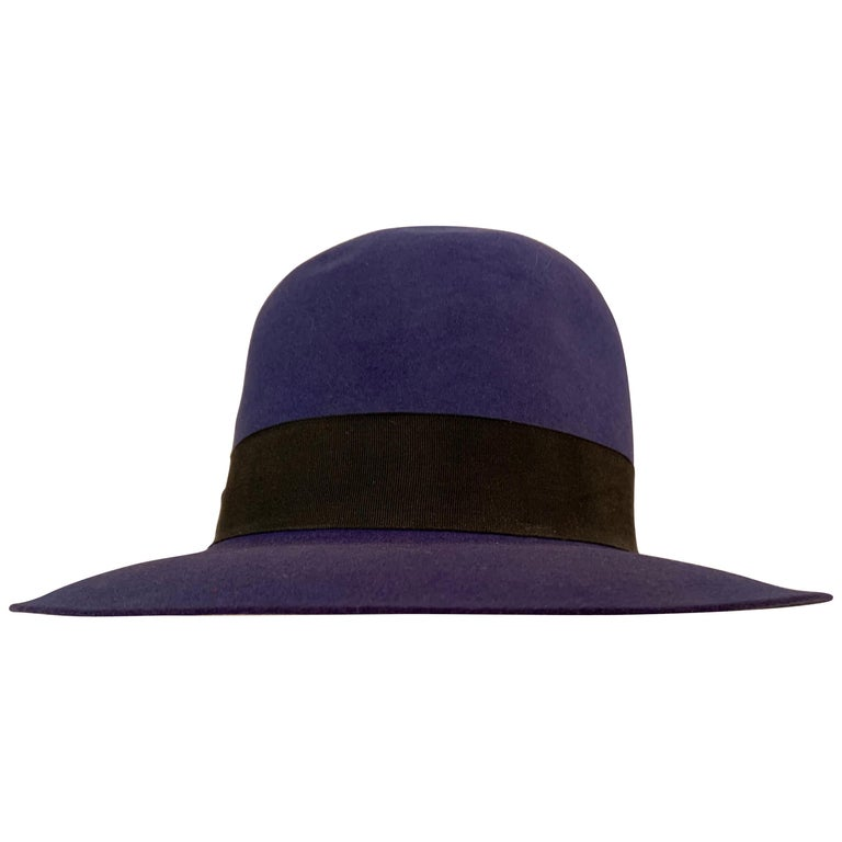 Norma Kamali for Stetson Blue Wool Felt Fedora Hat For Sale