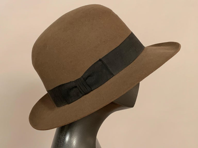 Women's or Men's Norma Kamali for Stetson Taupe Wool Felt Fedora Hat For Sale