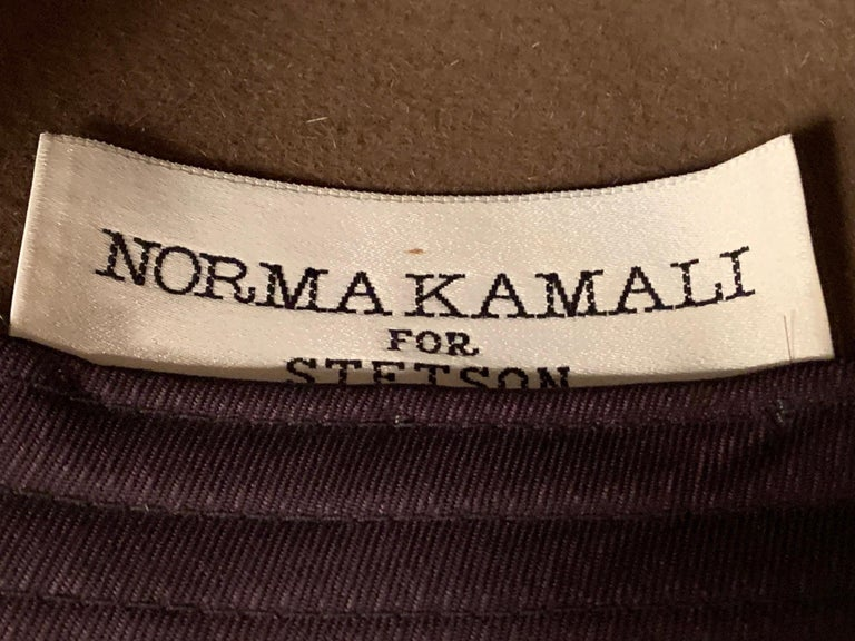 Norma Kamali for Stetson Taupe Wool Felt Fedora Hat For Sale 2
