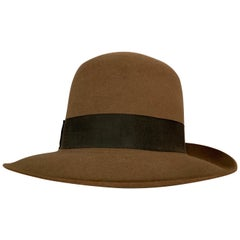 Norma Kamali for Stetson Taupe Wool Felt Fedora Hat