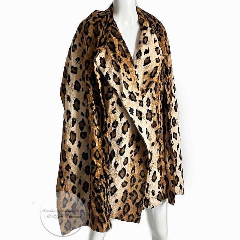 Norma Kamali Leopard or Tiger Print Shawl Collar Jacket Vintage 90s  For Sale 5