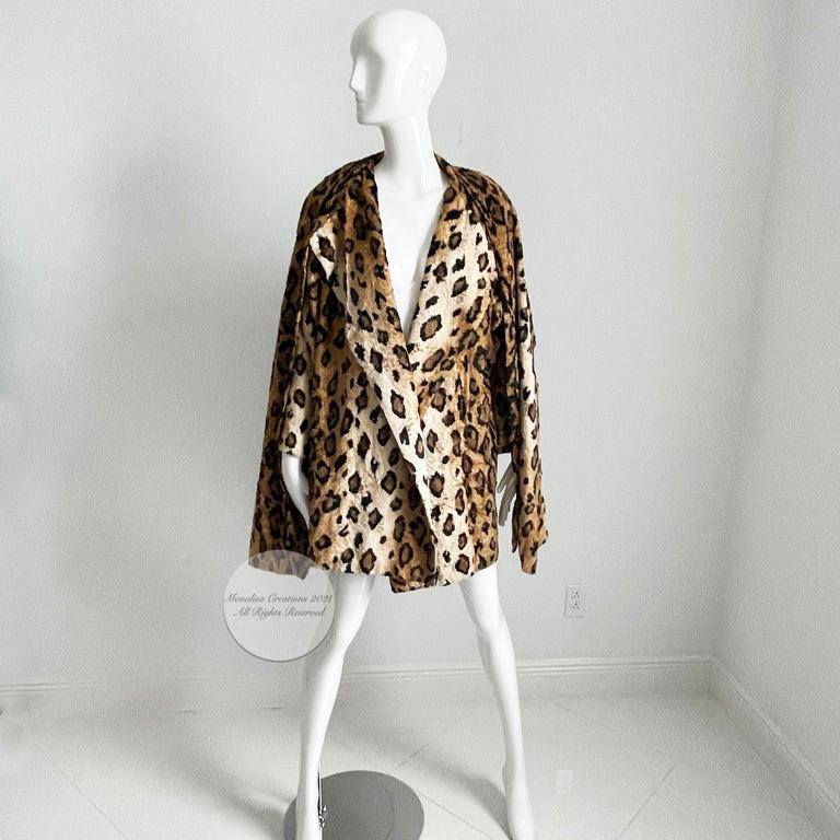 Norma Kamali Leopard or Tiger Print Shawl Collar Jacket Vintage 90s  For Sale 8