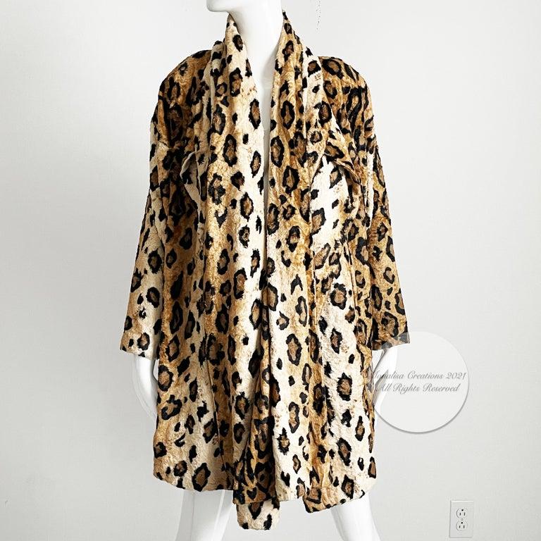 Norma Kamali Leopard or Tiger Print Shawl Collar Jacket Vintage 90s  For Sale 9