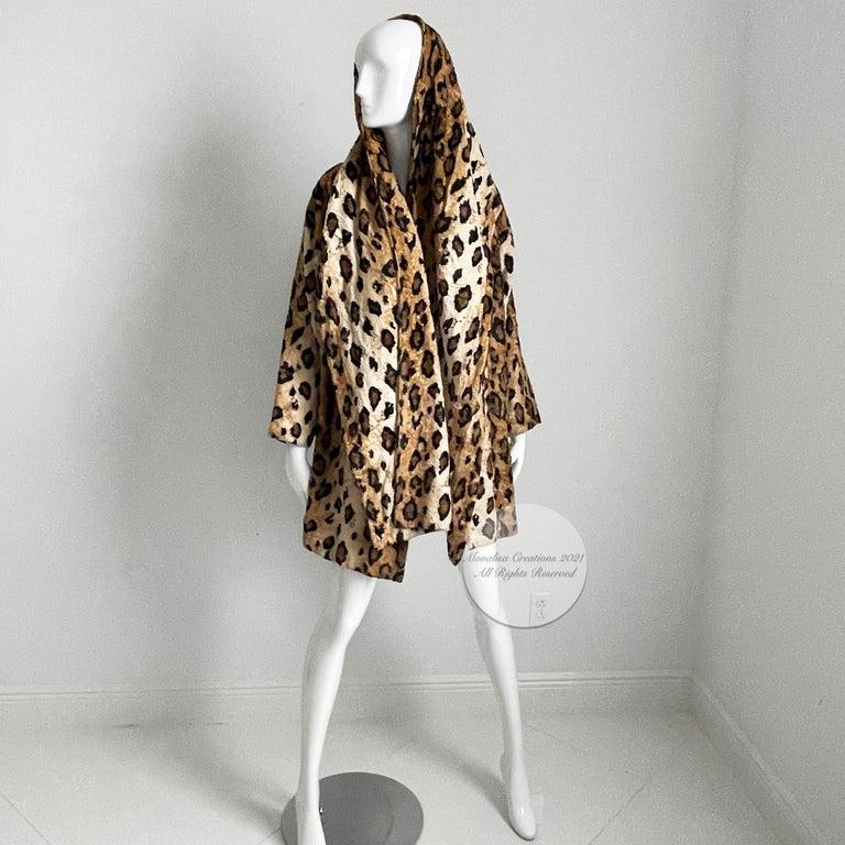 Black Norma Kamali Leopard or Tiger Print Shawl Collar Jacket Vintage 90s  For Sale