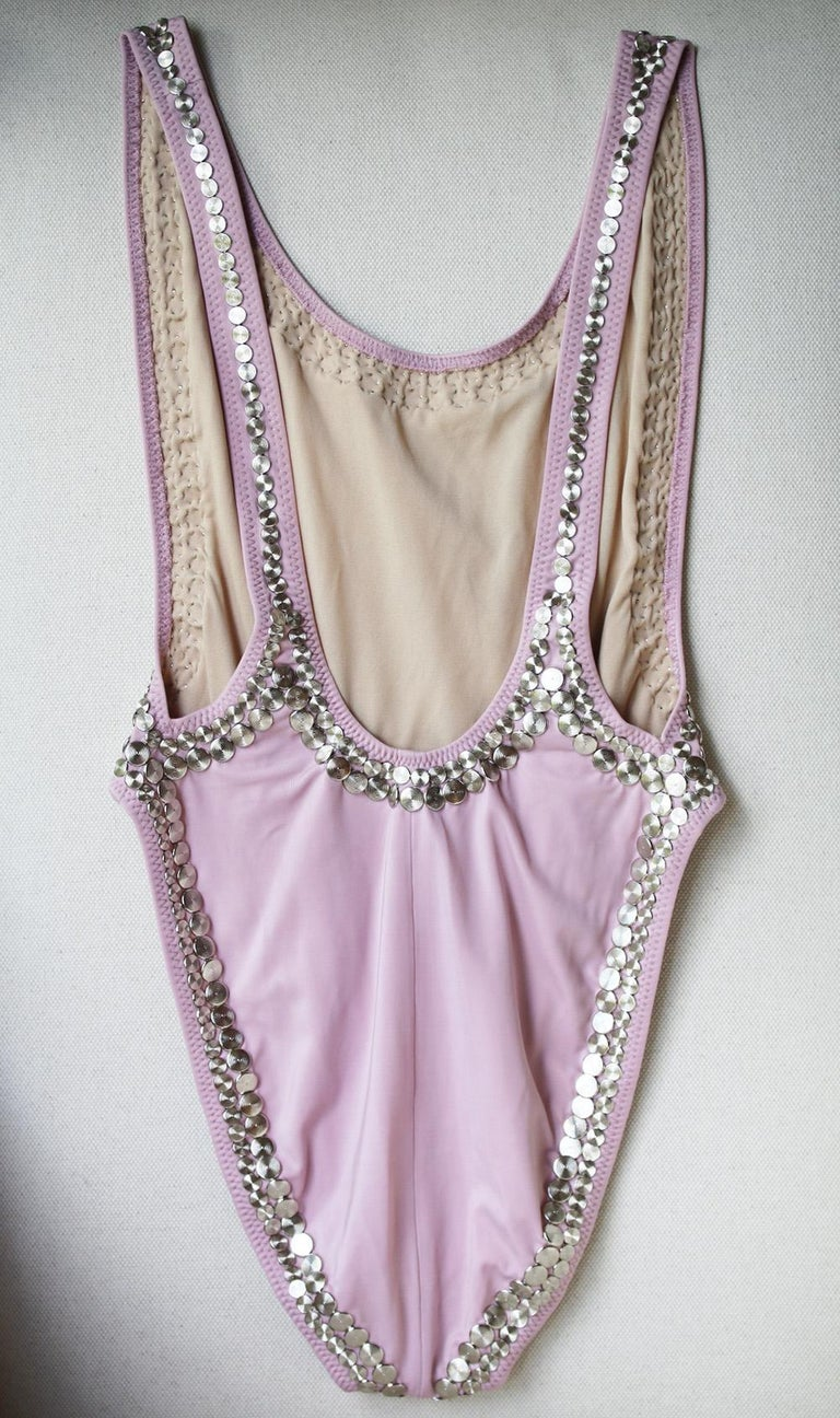 Norma Kamali Marissa Stud Embellished Swimsuit In Excellent Condition For Sale In London, GB