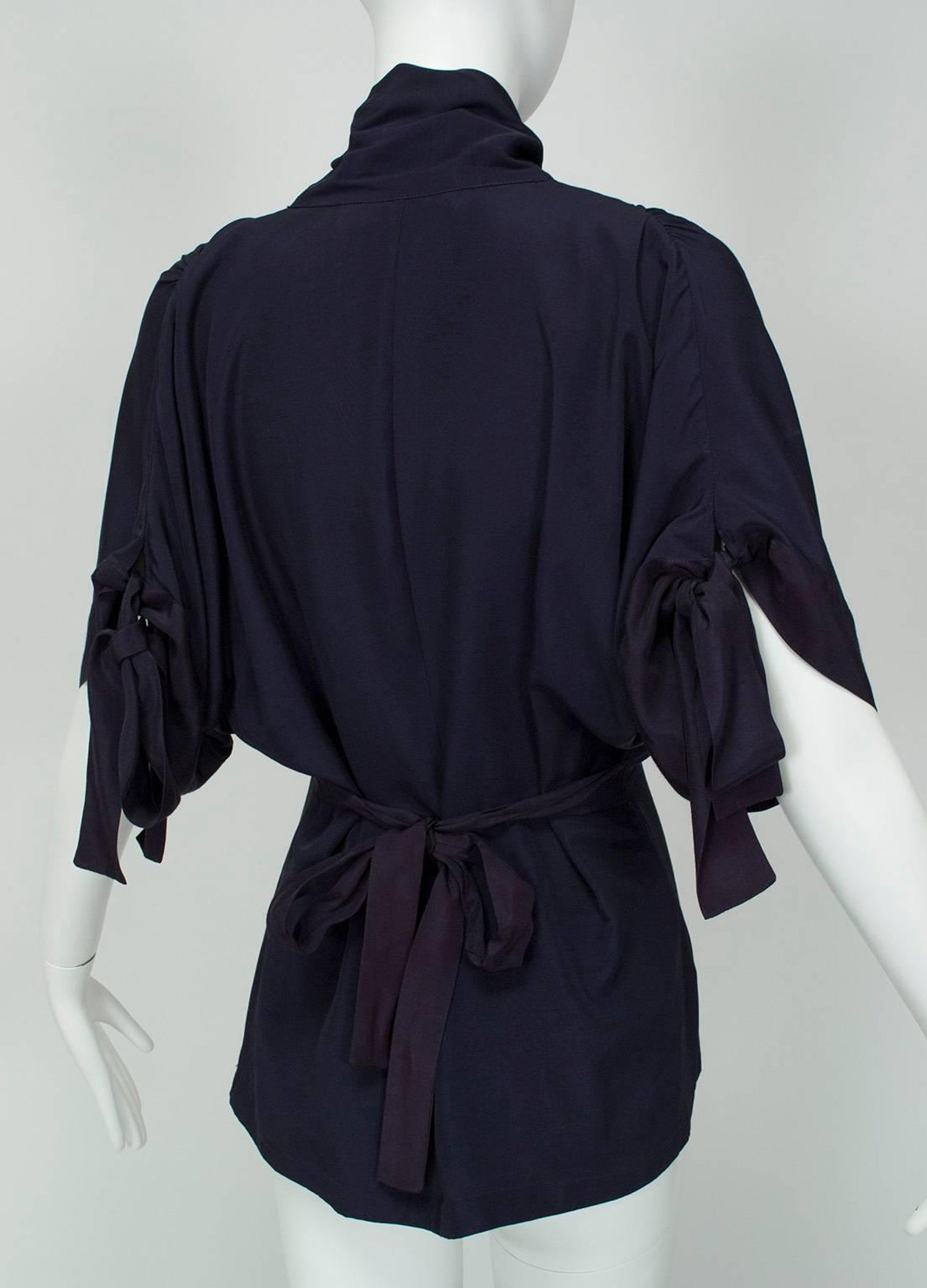 fdf31abe Norma Kamali Navy Peplum Blouse with Keyhole Pussy Bow, 1980s at 1stdibs