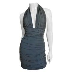 Norma Kamali Olive Plunge Halter Dress
