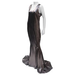 Norma Kamali Racer Fishtail Metallic Evening Gown Dress