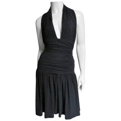 Norma Kamali Ruched Halter Dress 1980s