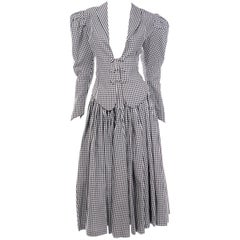 Norma Kamali Vintage Black & White Check Royalcore Victorian Inspired 2pc Dress
