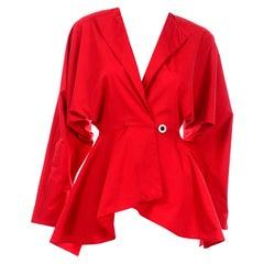 Norma Kamali Vintage Red Cotton Peplum Summer Jacket