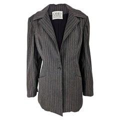 Norma Kamali Vintage Womens Longline Pinstripe Blazer Jacket, 1980s