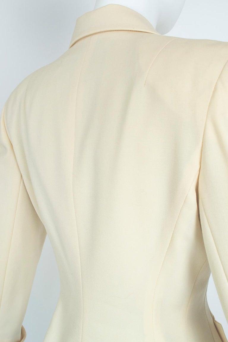 Norma Kamali Winter White Bar Jacket Peplum Blazer – US 2, 1980s For Sale 6