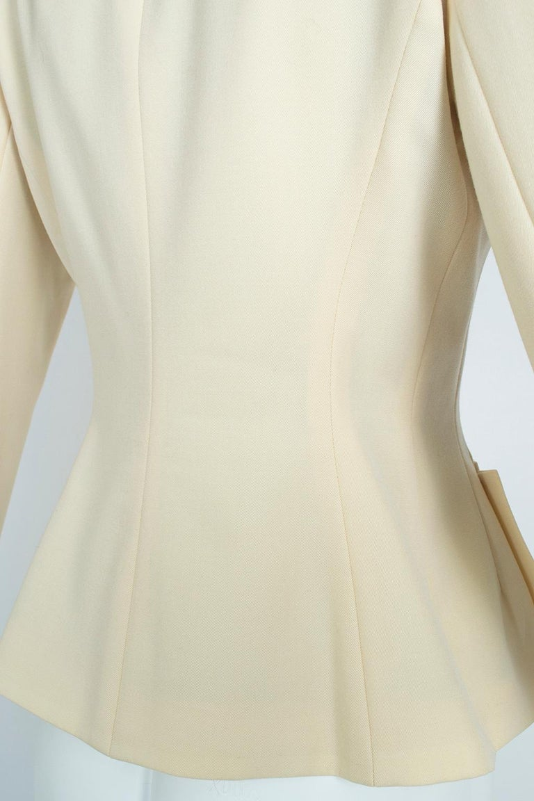 Norma Kamali Winter White Bar Jacket Peplum Blazer – US 2, 1980s For Sale 7