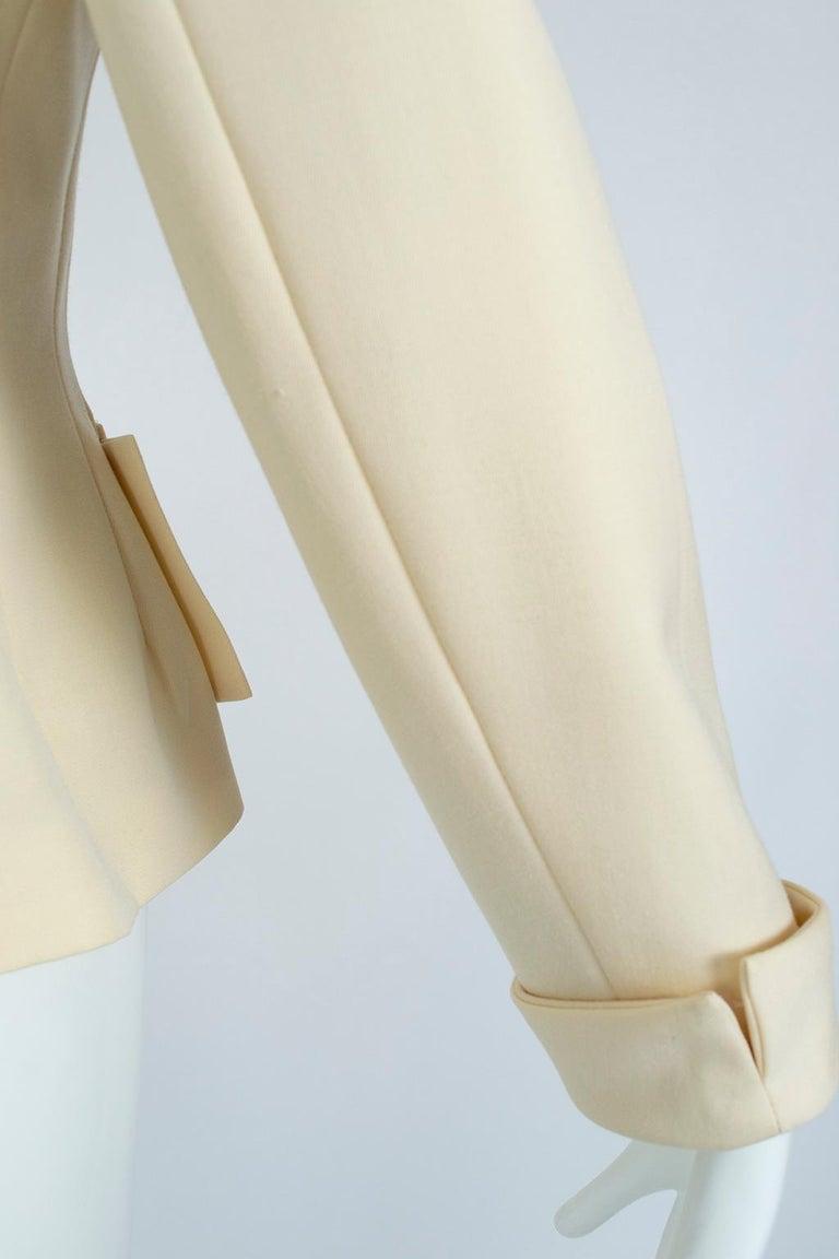 Norma Kamali Winter White Bar Jacket Peplum Blazer – US 2, 1980s For Sale 8