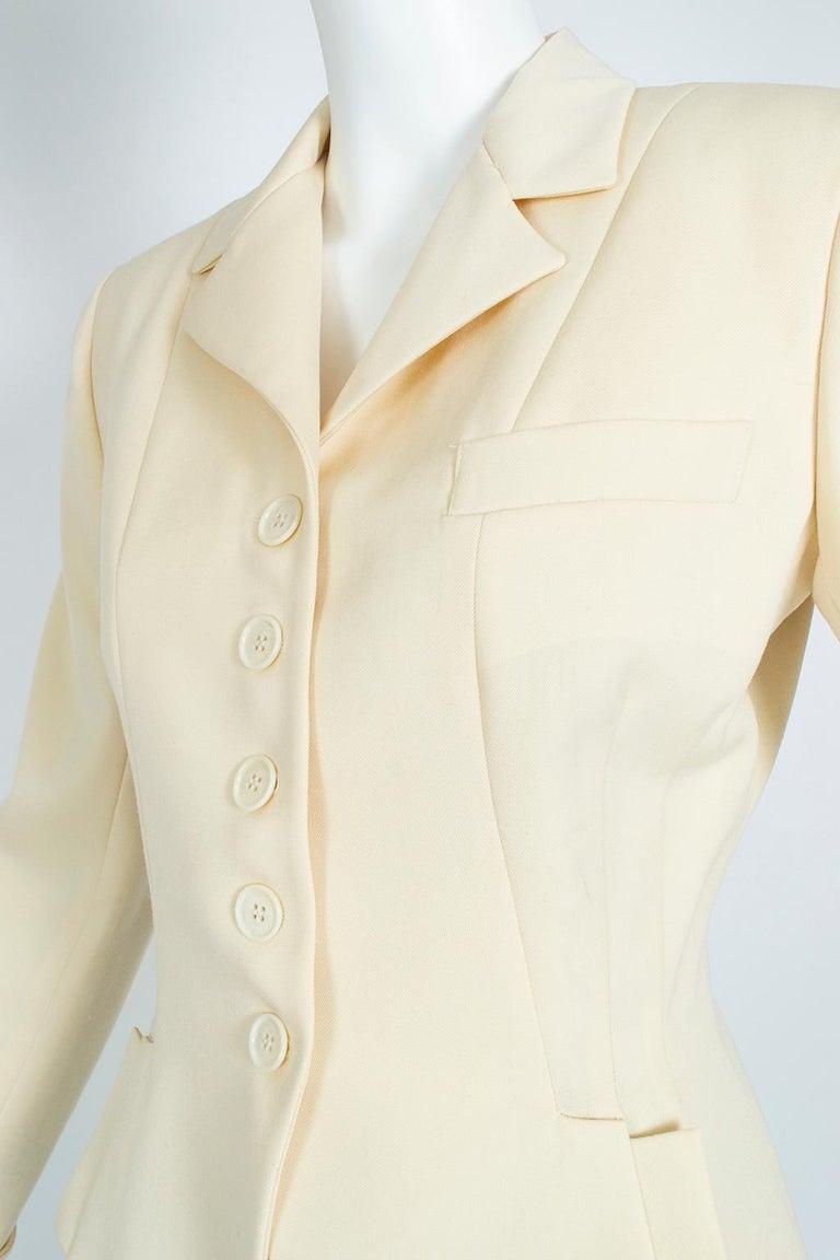 Women's Norma Kamali Winter White Bar Jacket Peplum Blazer – US 2, 1980s For Sale