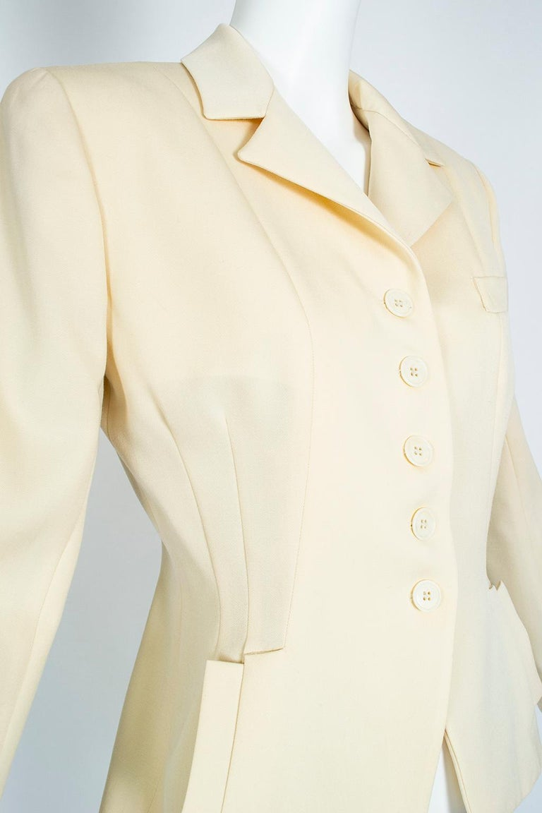Norma Kamali Winter White Bar Jacket Peplum Blazer – US 2, 1980s For Sale 1