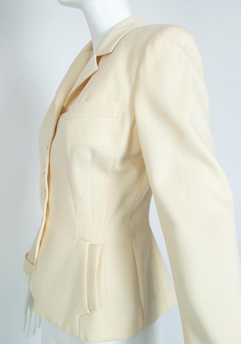 Norma Kamali Winter White Bar Jacket Peplum Blazer – US 2, 1980s For Sale 3